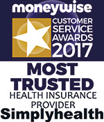 Moneywise Customer Service Awards 2017 logo for Simplyhealth winning most trusted health insurance provider via your employer