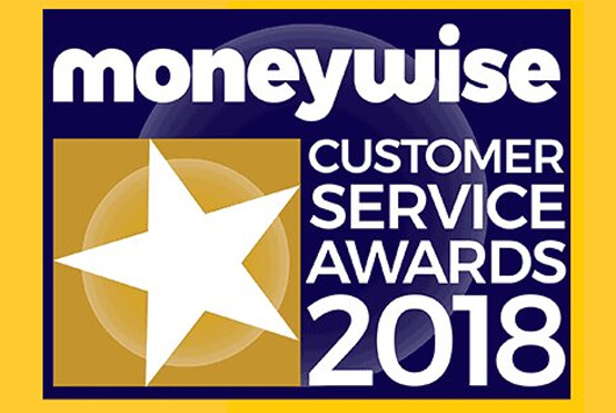 Moneywise Customer Service Awards 2018 logo for Simplyhealth winning most trusted health insurance provider via your employer
