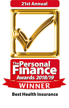 Personal Finance Awards 2018 logo for Simplyhealth winning Best Health Insurance Provider