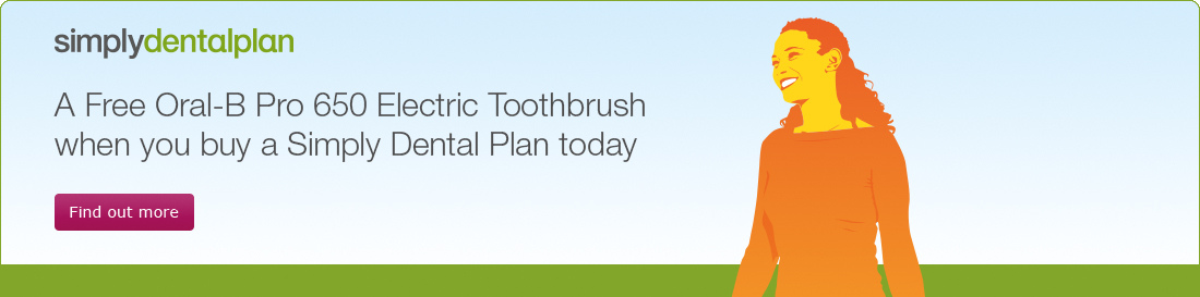 A Free Oral-B Pro 650 Electric Toothbrush when you buy a Simply Dental Plan today