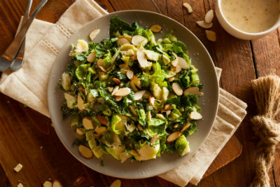 Brussel Sprouts shaved into salad