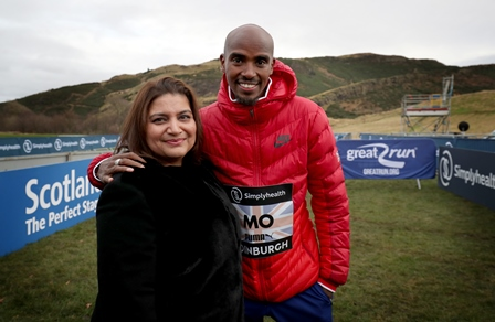 Mo Farah and Romana Abdin in Edinburgh 2017
